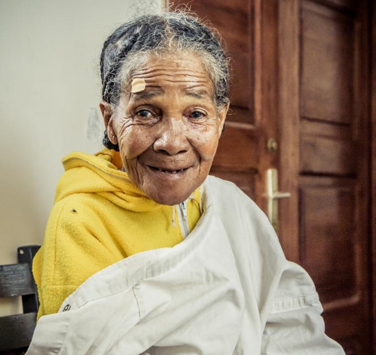 Old Nepali Woman before cataract surgery