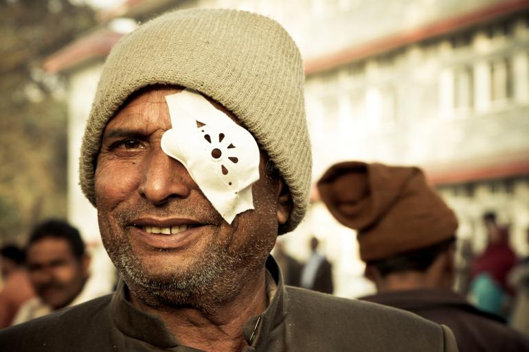 Nepali man after cataract surgery
