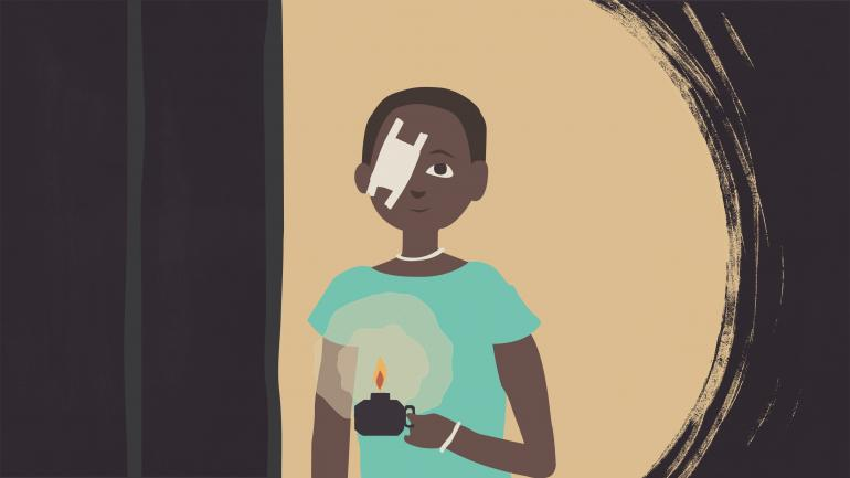 illustration of young girl with bandage over her eye holding a candle