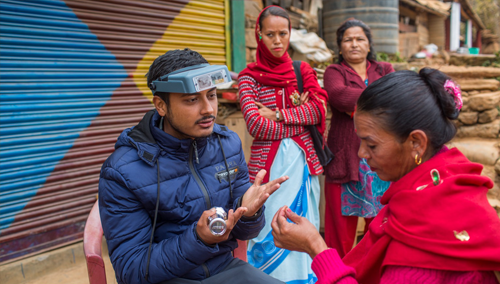 Nepali woman receiving eye care