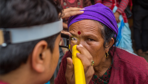 Nepali woman receiving eye screening