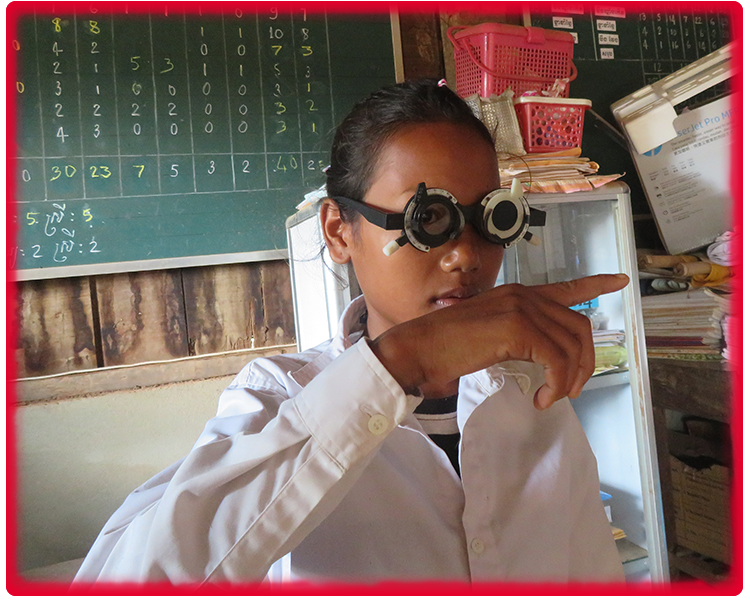 Thuon Cambodian girl with glasses eye screening
