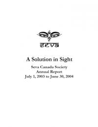 2003-2004 Seva Canada Annual Report Cover