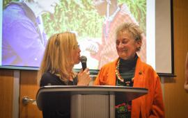 board chair Laura Spencer congratulating Susan Erdman for her years of service on Seva Canada's board