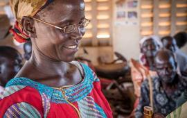 Molly Atim in Uganda doing a reading test