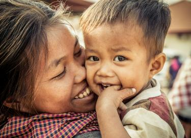 Cambodian mother and son by Ellen Crystal