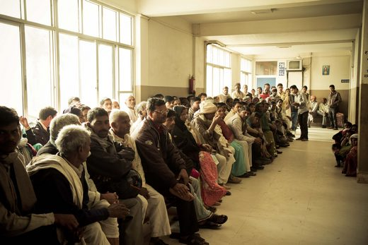 Nepal eye care patients waiting